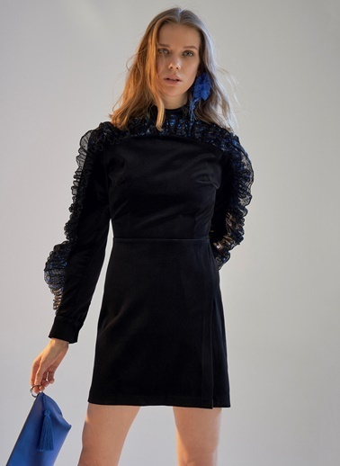 morhipoxsudi etuz Metalik Volanlı Kadife Mini Elbise Siyah